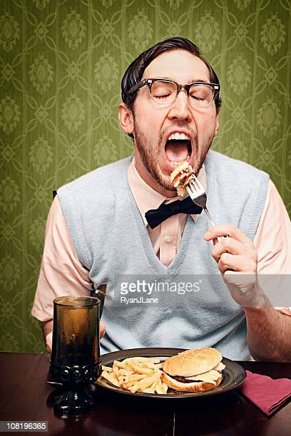 Nerd Young Man Eating Dinner