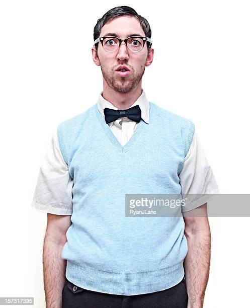 nerd young man isolated on white - nerd stock pictures, royalty-free photos & images