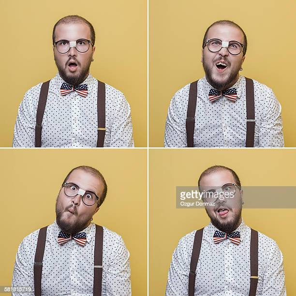 nerd young man making face expressions - ugly turkey stock photos and pictures