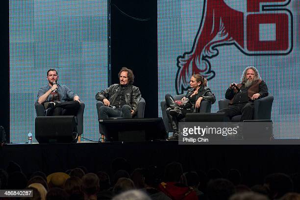 Nerdist moderator Daniel Casey actor Kim Coates actress Drea de Matteo and actor Mark Boone Junior participate in The Sons of Anarchy discussion...