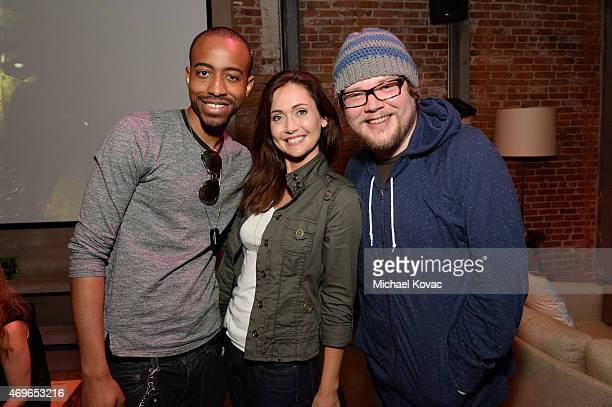 Nerdist's Malik Forte Jessica Chobot and Brian Walton attend the Mortal Kombat X Tournament at The Microsoft Lounge on April 13 2015 in Venice...