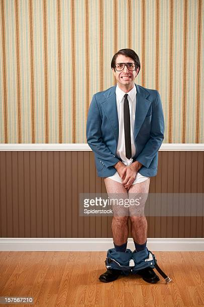 Nerdy Businessman Caught With His Pants Down