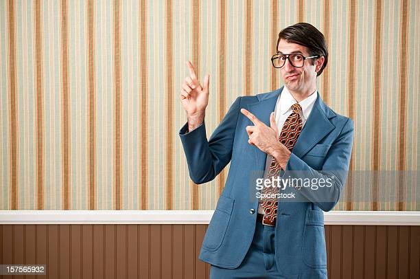nerdy businessman in retro suit - smug stock photos and pictures