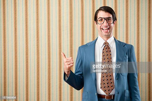 nerdy businessman in retro suit - nerd stock pictures, royalty-free photos & images