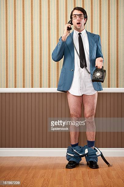 Nerdy Businessman Speaking On Vintage Telephone