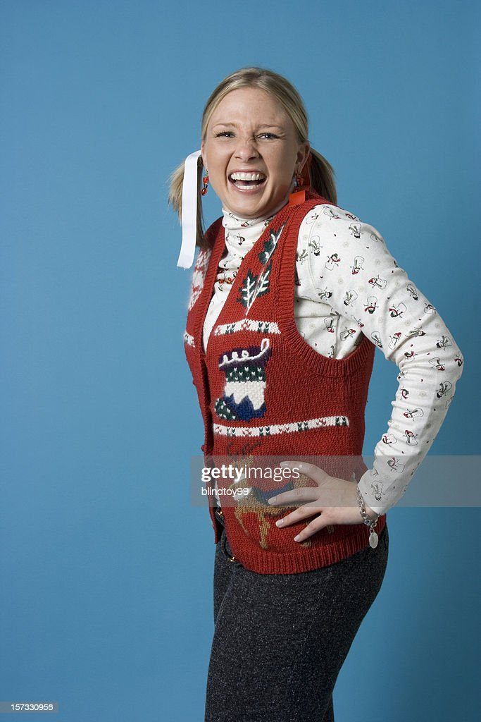 Nerdy christmas girl : Stock Photo