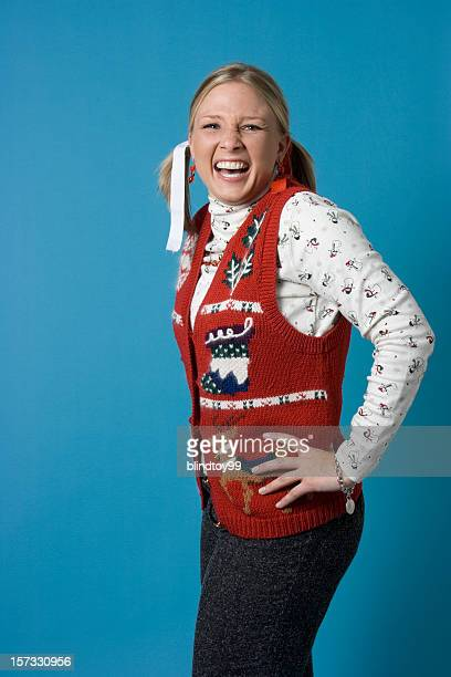 nerdy christmas girl - ugly christmas sweater stock photos and pictures