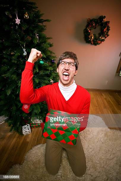 Nerdy Christmas Man Receiving a Gift