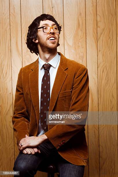 nerdy college professor 1970s portrait looking away - idiots stock pictures, royalty-free photos & images