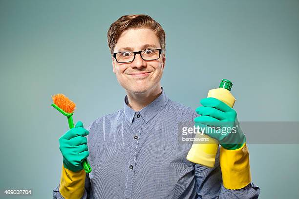 nerdy guy getting ready to clean - tidy stock pictures, royalty-free photos & images