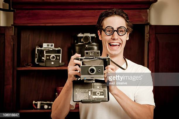 Nerdy Photographer With Old Camera