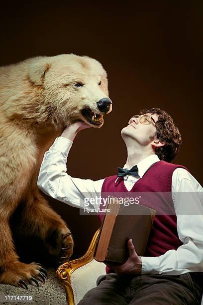 Nerdy Rich Man Pets His Bear