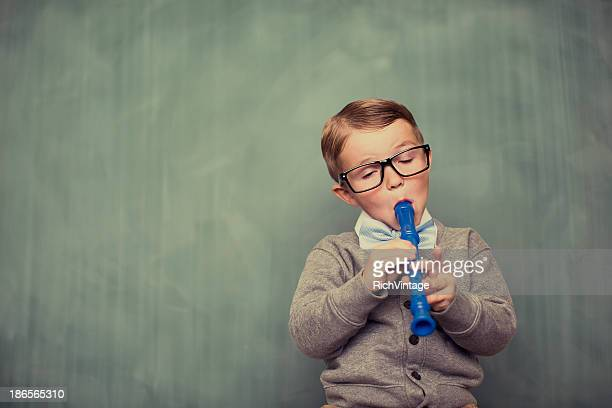nerdy tune - recorder musical instrument stock photos and pictures