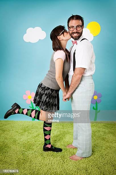 Nerdy Woman Kissing Happy, Dorky Man Outside