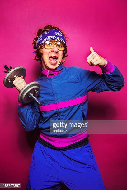 nerdy workout dude - kitsch stock pictures, royalty-free photos & images