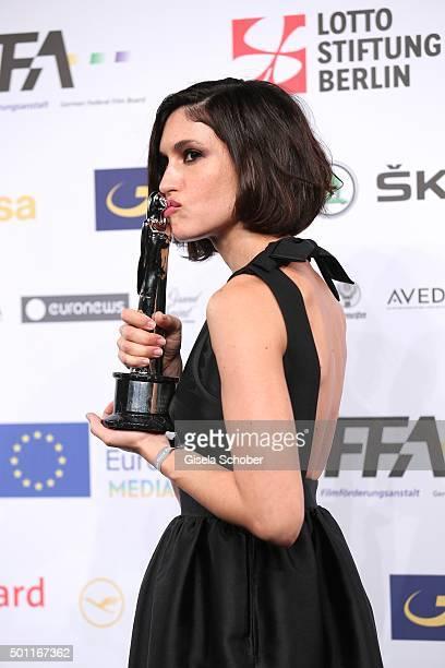 Nerea Barros with award during the European Film Awards 2015 at Haus Der Berliner Festspiele on December 12, 2015 in Berlin, Germany.