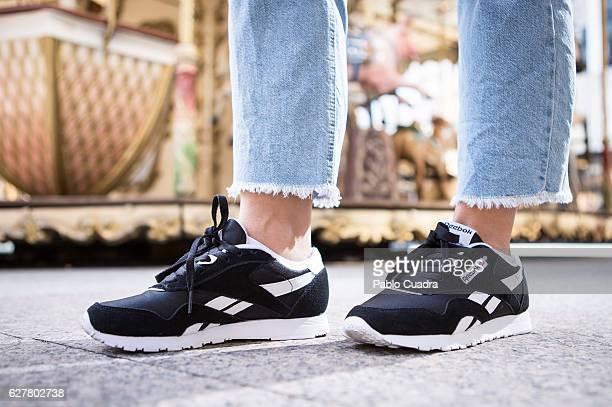 eecd201055a Nerea Escoto wears Reebok trainers Friday Project jeans Zara jacket  handkerchief and handbag and RayBan sunglasses