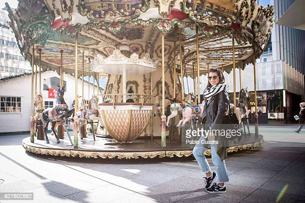 Nerea Escoto wears Reebok trainers, Friday Project jeans Zara jacket, handkerchief and handbag and Ray-Ban sunglasses on December 2, 2016 in Madrid,...