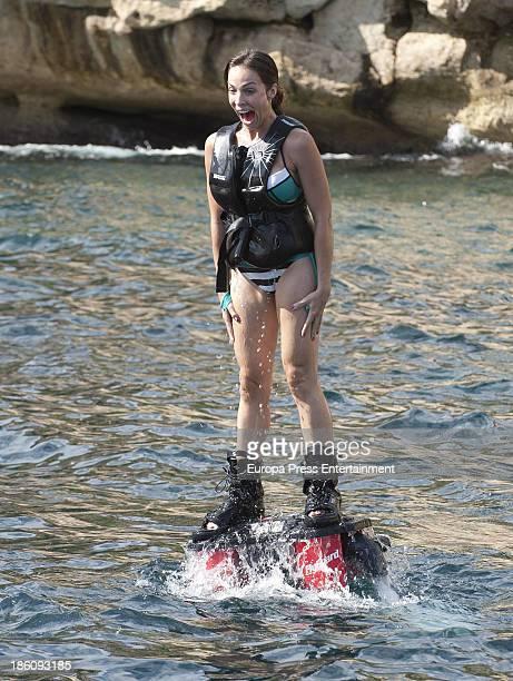 Nerea Garmendia is seen doing flyboarding on October 21 2013 in Ibiza Spain