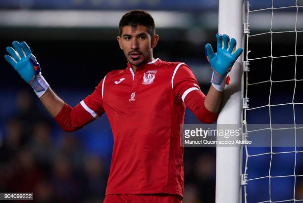 Nereo Champagne of Leganes reacts during the Copa del Rey Round of 16 second Leg match between Villarreal CF and Leganes at Estadio de La Ceramica on...