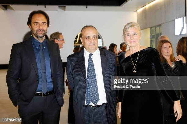 Neri Marcore Alberto Bonisoli and Giovanna Melandri attend MAXXI Acquisition Gala Dinner at Maxxi Museum on November 5 2018 in Rome Italy