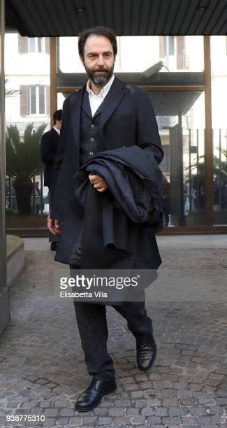 Neri Marcore arrives at the Fabrizio Frizzi funeral parlour at RAI Viale Mazzini on March 27, 2018 in Rome, Italy.