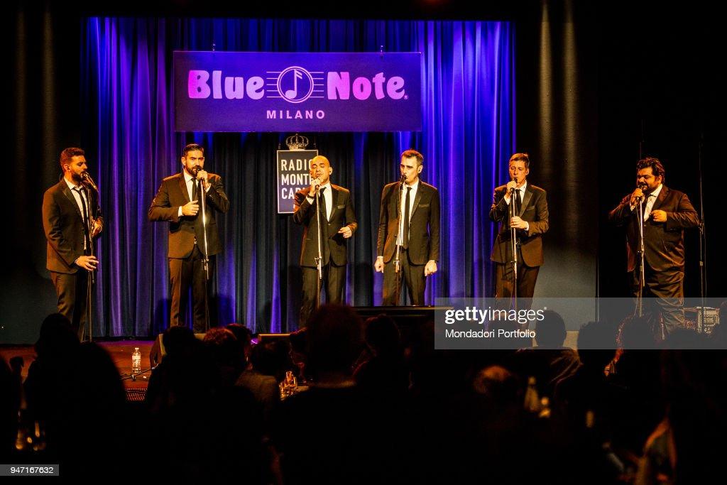 Neri per Caso in concert at the Blue Note in Milan. From the left: Daniele Blaquier, Gonzalo Caravano, Diego Caravano, Mario Crescenzo, Massimo De Divitiis, Ciro Caravano. Milan (Italy), 11th January 2017