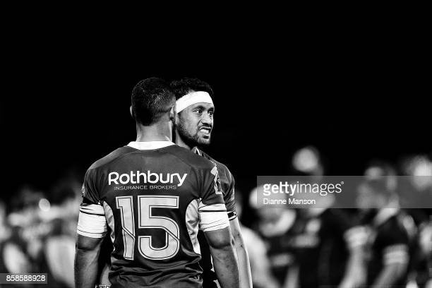 Neria Fomai and Ryan Tongia of Southland chat during the round eight Mitre 10 Cup match between Southland and Wellington at Rugby Park Stadium on...