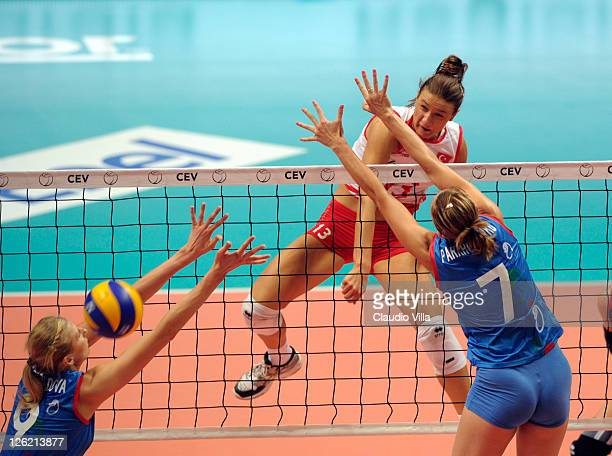 Neriman Ozsoy of Turkey during the women Volleyball European Championship match between Turkey and Azerbaijan on September 23 2011 in Monza Italy