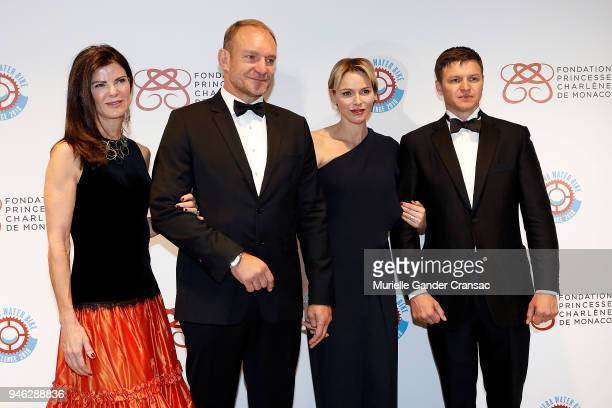 Nerine and Franois Pienaar Princess Charlene of Monaco and Gareth Wittstock attend Riviera Water Bike Challenge Gala at YCM on April 14 2018 in...