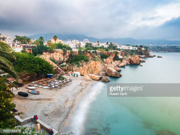 nerja beach and coast - málaga málaga province stock pictures, royalty-free photos & images
