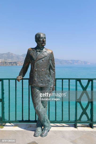 Nerja, Costa del Sol, Malaga Province, Andalusia, southern Spain. Statue of King Alfonso XII on the Balcon de Europa. The King is said to have named...