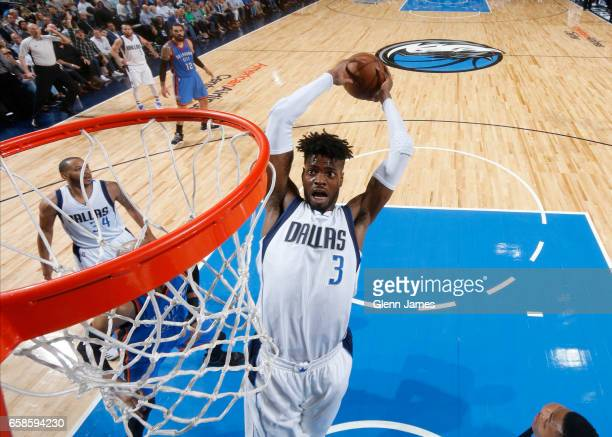 Nerlens Noel of the Dallas Mavericks goes up for a dunk during a game against the Oklahoma City Thunder on March 27 2017 at American Airlines Center...