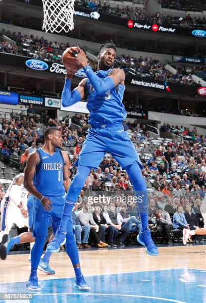 Nerlens Noel of the Dallas Mavericks handles the ball against the Philadelphia 76ers on October 28 2017 at the American Airlines Center in Dallas...