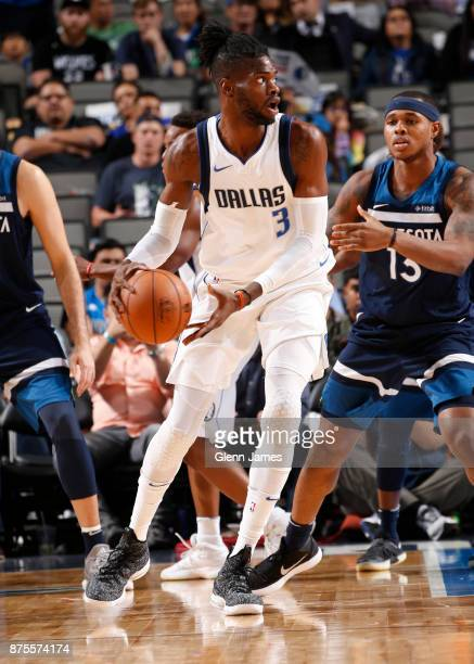 Nerlens Noel of the Dallas Mavericks handles the ball against the Minnesota Timberwolves on November 17 2017 at the American Airlines Center in...