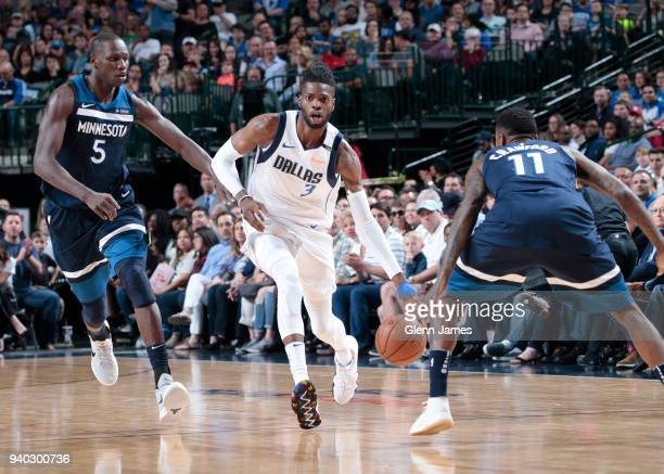 Nerlens Noel of the Dallas Mavericks handles the ball against the Minnesota Timberwolves on March 30 2018 at the American Airlines Center in Dallas...