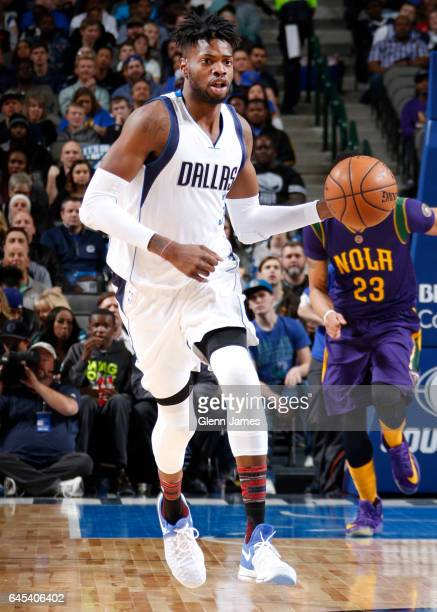 Nerlens Noel of the Dallas Mavericks handles the ball during a game against the New Orleans Pelicans on February 25 2017 at American Airlines Center...