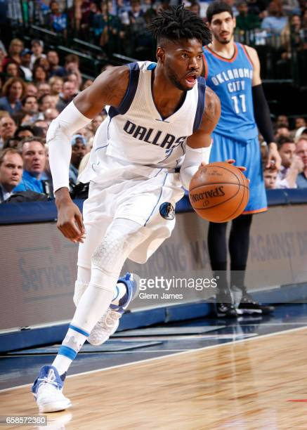 Nerlens Noel of the Dallas Mavericks handles the ball during a game against the Oklahoma City Thunder on March 27 2017 at American Airlines Center in...