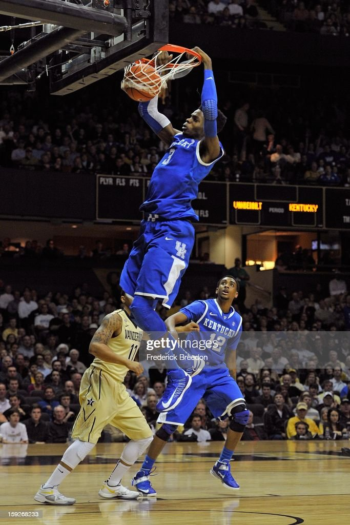 Nerlens Noel #3 of the Kentucky Wildcats dunks against the Vanderbilt Commodores at Memorial Gym on January 10, 2013 in Nashville, Tennessee.