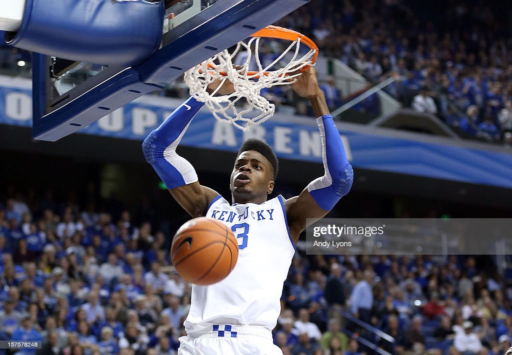 Nerlens Noel #3 of the Kentucky Wildcats dunks the ball during the game against the Samford Bulldogs at Rupp Arena on December 4, 2012 in Lexington, Kentucky.