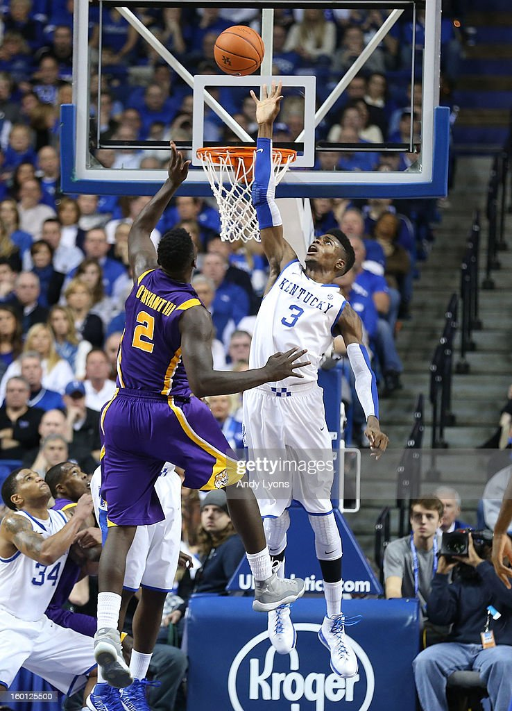 Nerlens Noel #3 of the Kentucky Wildcats reaches to block the shot of Johnny O'Bryant #2 of the LSU Tigers during the game at Rupp Arena on January 26, 2013 in Lexington, Kentucky.