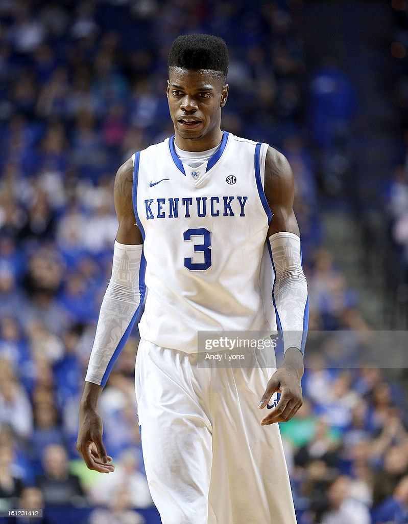Nerlens Noel #3 of the Kentucky Wildcats walks down the court during the game against the Auburn Tigers at Rupp Arena on February 9, 2013 in Lexington, Kentucky.