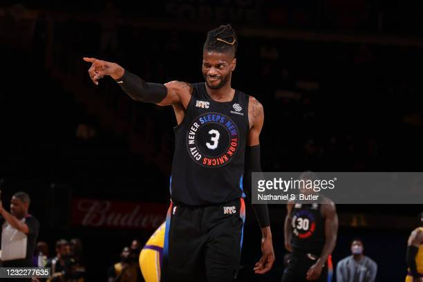 Nerlens Noel of the New York Knicks looks on during the game against the Los Angeles Lakers on April 12, 2021 at Madison Square Garden in New York...