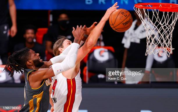 Nerlens Noel of the Oklahoma City Thunder and Kelly Olynyk of the Miami Heat go after a rebound during the first quarter at Visa Athletic Center at...