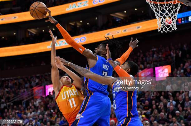 Nerlens Noel of the Oklahoma City Thunder blocks the shot by Dante Exum of the Utah Jazz in the second half of a NBA game at Vivint Smart Home Arena...