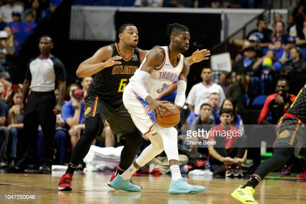 Nerlens Noel of the Oklahoma City Thunder handles the ball against Atlanta Hawks during a preseason game on October 7 2018 at BOK Center in Tulsa...