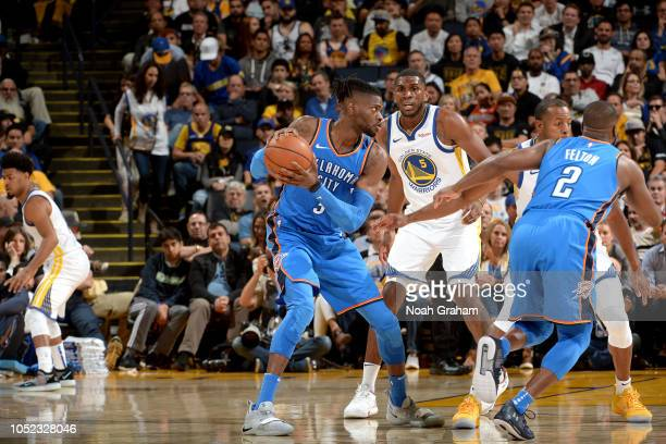 Nerlens Noel of the Oklahoma City Thunder handles the ball against the Golden State Warriors during a game on October 16 2018 at Oracle Arena in...