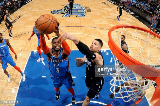 Nerlens Noel of the Oklahoma City Thunder rebounds the ball against the Orlando Magic on January 29 2019 at Amway Center in Orlando Florida NOTE TO...