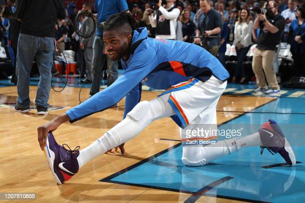 Nerlens Noel of the Oklahoma City Thunder warms up before the game against the Utah Jazz on February 21, 2020 at Chesapeake Energy Arena in Oklahoma...