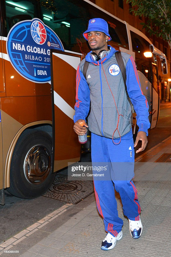 Nerlens Noel #4 of the Philadelphia 76ers arrives at the hotel during the NBA Global Games on October 3, 2013 in Bilbao, Spain.